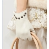 China Women Genuine Leather Gloves Women/Ladies Fashion Leather Gloves With Rivets GY366 for sale