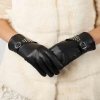 China Women Genuine Leather Gloves Women Genuine Goat Leather Gloves With Rivets &Buckles GY376 for sale