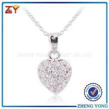 China 925 Silver Heart Pendant Necklaces with Small Size Round CZ Stone on sale