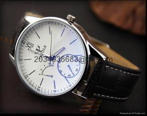 China Fashion Stainless Steel Leather Men's Military Sport Analog Quartz Wrist Watch on sale