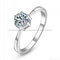 China Fashion Women Lady 925 Sterling Silver Plated Crystal Wedding Ring Jewelry on sale