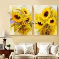 China Frameless painting YISENNI modern sunflower painting by number for home decoration on sale