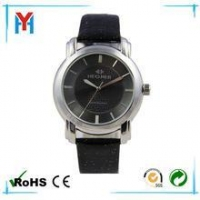 silver alloy case leather strap japan movt quartz watch stainless steel back