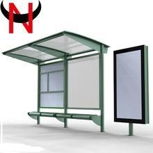 China Stainless steel structure Bus shelter with Advertising light box on sale