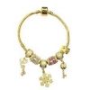 China Fashion 24K Golden Plated Snowflake Love Key Charms Bracelet for sale