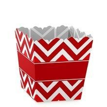 China Red Cheveron Fold Square Base Paper Popcorn Boxes For Party on sale