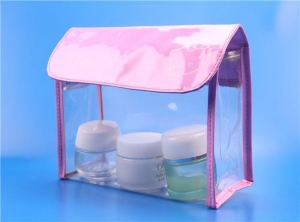 China clear plastic cosmetic bags with snap button on sale