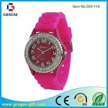 China geneva brights crystal bezel silicone watch supplier