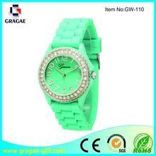 China Womens crystal embellished geneva silicone watch on sale