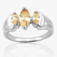China Three Orange CZ 925 Silver Ring Rhodium Plated And Comfort Fit With Top Quality on sale