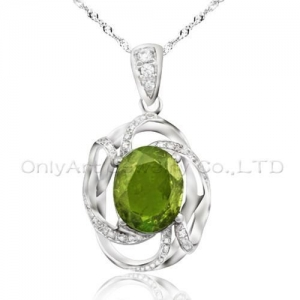China big oval CZ 925 sterling silver new pendant on sale
