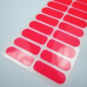 China Custom neon color nail polish sticker red vinyl nail wrap 20 tips manufacturer on sale