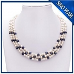 A 5-6MM / 6-7MM 18Inch Three Strands Natural Fresh Water Pearl Necklace PN004