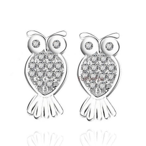 China Fashion 925 Sterling Silver Owl Stud Earring With Clear Zirconia Stone RE10499 on sale
