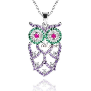 China Fashion 925 Sterling Silver Owl Pendant With Cubic Zirconia Stone RP20311 on sale