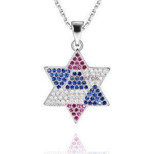 China Fashion 925 Sterling Silver Jewish Star of David Pendant With Cubic Zirconia Stone RP20307 on sale