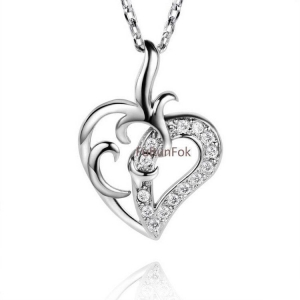China Fashion 925 Sterling Silver Heart Pendant With Cubic Zirconia Stone RP20390 on sale