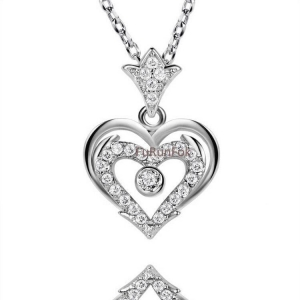 China Fashion Sterling Silver Heart Pendant With Cubic Zirconia Stone RP20398 on sale