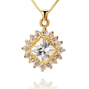 China Fashion Gold Tone Sterling Silver Cross Pendant With Cubic Zirconia Stone RP20435 on sale
