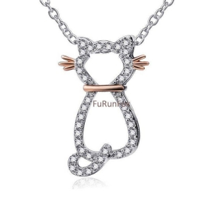 China Fashion 925 Sterling Silver Cat Pendant With Cubic Zirconia Stone RP20656 on sale
