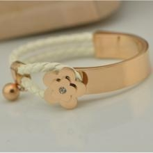 China leather rope bracelet Beautiful Rose gold stainless steel rope magnetic bracelet on sale