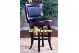 China Leather Cherry Swivel Bar StoolsOBF-0031 - solid wood leather bar stools in shanghai shenzhen china on sale