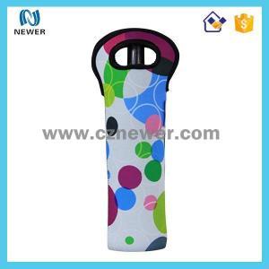 China Custom one pack cartoon printing neoprene bottle wine tote bags on sale