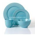 China 16pcs solid color emboss ceramic dinnerware sets on sale
