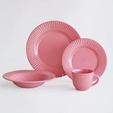 China 16PCS Pink Color Ceramic Dinnerware Set,Dard Red Embossed Ceramic Dinner Set on sale