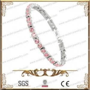 China 316L Stainless Steel and Round-Cut Cubic Zirconia Tennis Bracelet,Magnetic,Accept Customization on sale