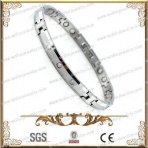 China High Polished 316L Stainless Steel Magnetic Bracelet With CZ Stone,Accept Customization on sale
