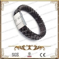 China Brown Leather And 316L Stainless Steel Magnetic Bracelet,Good For Health on sale