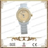 China CZ Stone Fashion Watch MAde Of White Ceramic And IP Gold Plating Stainless Steel for sale