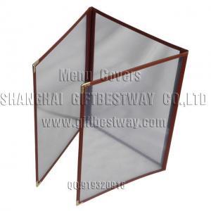 China PVC Menu Covers 3-Folder-Burgundy on sale