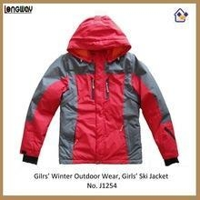 China Girls Winter Outdoor Jackets Girls Red and Grey Outdoor Jackets on sale
