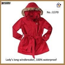 China Womens Fur Collar Long Red Coats Red Long Parka Coats with Faux Fur for Women on sale