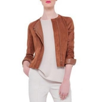 China Leather Jacket Women Leather Jacket With Zipper On Front Panel on sale