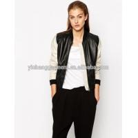 Leather Jacket Women Lambskin Bomber Jackets With Zipper Closed