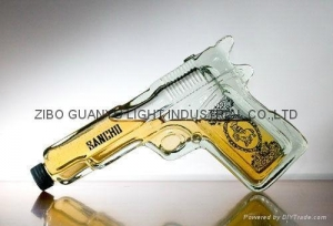 China glass bottle gun shaped glass bottle,special glass wine bottle on sale