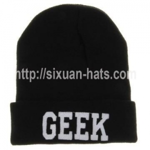 China Flat Embroidered Beanie Hats 100% Acrylic High quality custom knitted hat beanie on sale