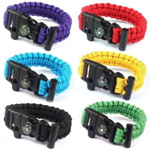 China Rope Paracord Survival Bracelet Flint Fire Starter Compass Whistle on sale