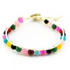 China Bracelets Home Unique Colorful Beads With Metal Loop On White Leather Rope Wrap Bracelet on sale
