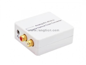 China Analog Stereo RCA 3.5mm audio to Digital Optical SPDIF Coax Audio Converter Adapter on sale