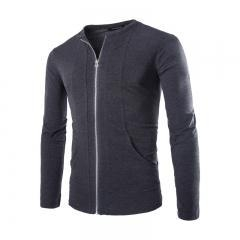 China Black Grey Fashion Zippers Solid Color T Shirts for men on sale