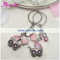 China AR20 Baby Carriage Favors Metal Pink Car Shaped Keychain on sale