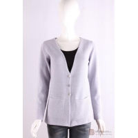 C-021 Womens V neck long sleeves cardigan, Spring/Summer, tape yarn, cotton/polyester sweater