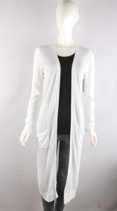 China knitwear C6031003 Womens Long cardigan with drop pockets on sale