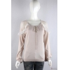 China knitwear P6033008 Womens knitted pullover with ruffle shoulder and Puff sleeves for sale