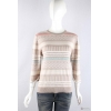 China knitwear P6031009 Womens jacquard/stripe sweater with chffion edge at cuff for sale