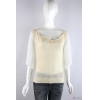 China knitwear P6033007 Womens ajour sweater with chiffon flounce sleeves for sale